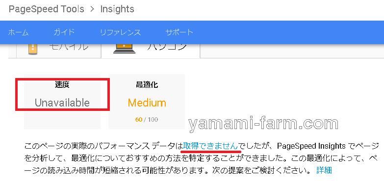 googleスピードテストの結果
